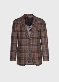 Brown Plaid Wool Sport Jacket, thumbnail 1