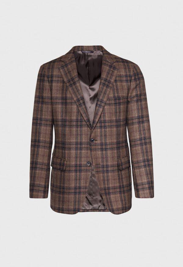 Brown Plaid Wool Sport Jacket, image 1