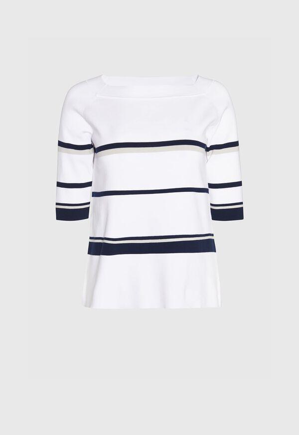 Square Neck Striped Pullover, image 1