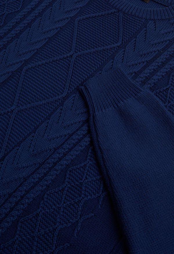 Cotton Aran Cable Crewneck Sweater, image 2