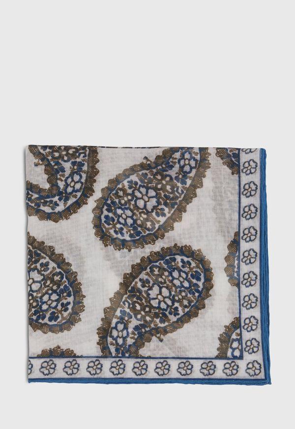 Silk Blend Large Paisley Pocket Square, image 2