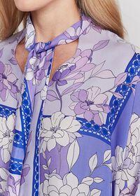 Floral Tie Front Silk Blouse, thumbnail 3