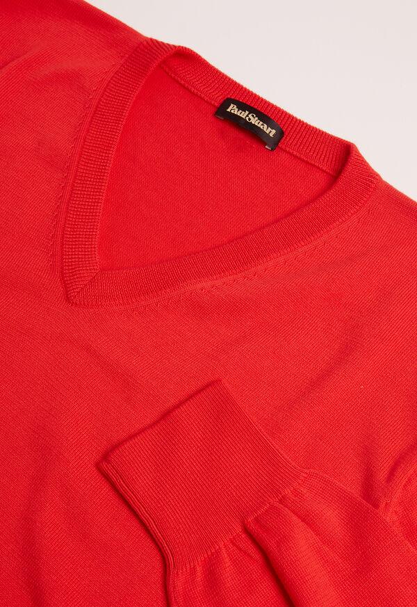 Pima Cotton V-Neck Sweater, image 2