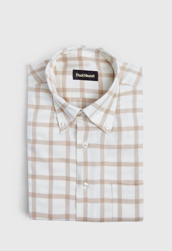 Windowpane Brushed Flannel Sport Shirt, image 1
