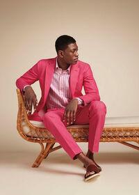 Pink Cotton Blend Denim Pant, thumbnail 3