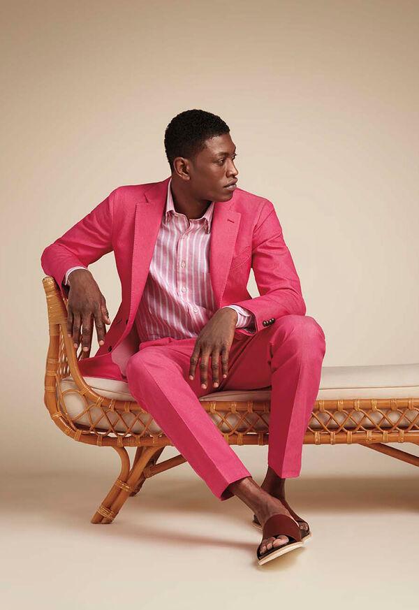 Pink Cotton Blend Denim Pant, image 3