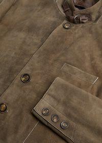 Brown Raw Cut Edge Suede Jacket, thumbnail 2