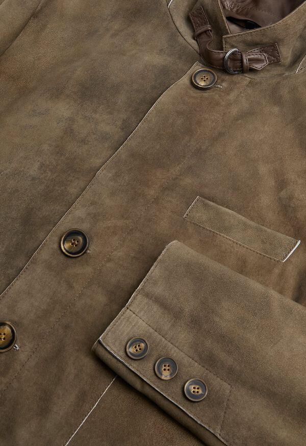 Brown Raw Cut Edge Suede Jacket, image 2