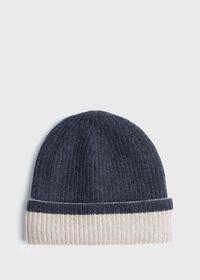 Reversible Two Tone Cashmere Beanie Hat, thumbnail 1
