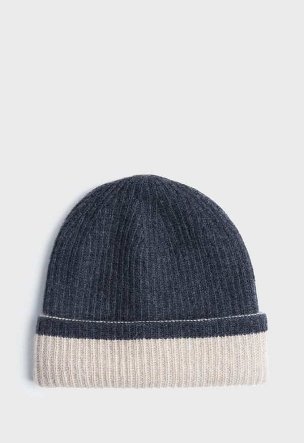 Reversible Two Tone Cashmere Beanie Hat, image 1