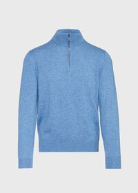 Cashmere Quarter Zip Mock Sweater, thumbnail 1