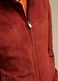 Suede Bomber Jacket with Knit Trim, thumbnail 4