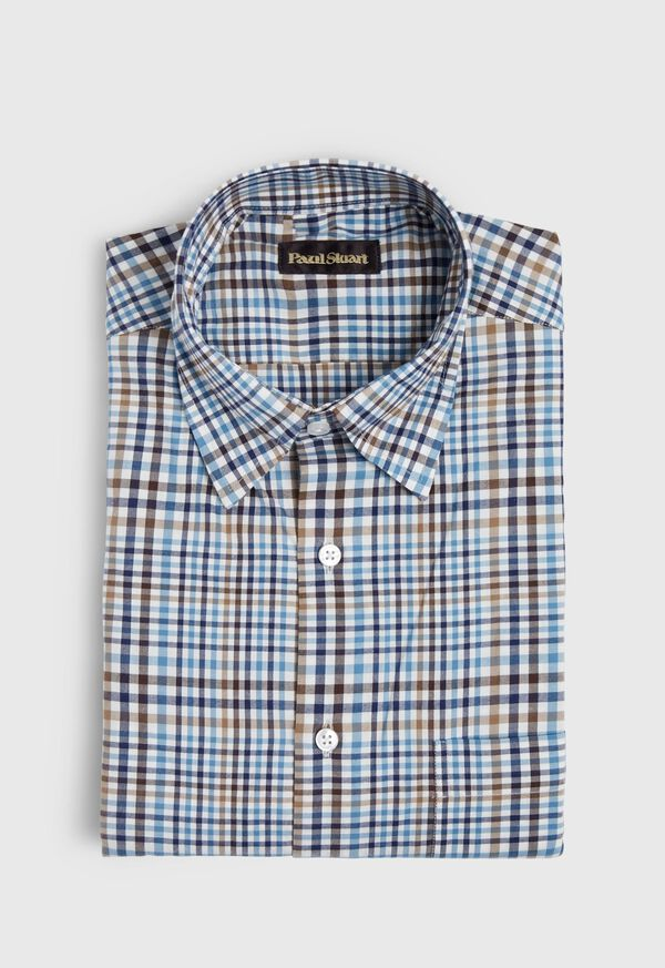 Lightweight Brushed Flannel Plaid Sport Shirt, image 1