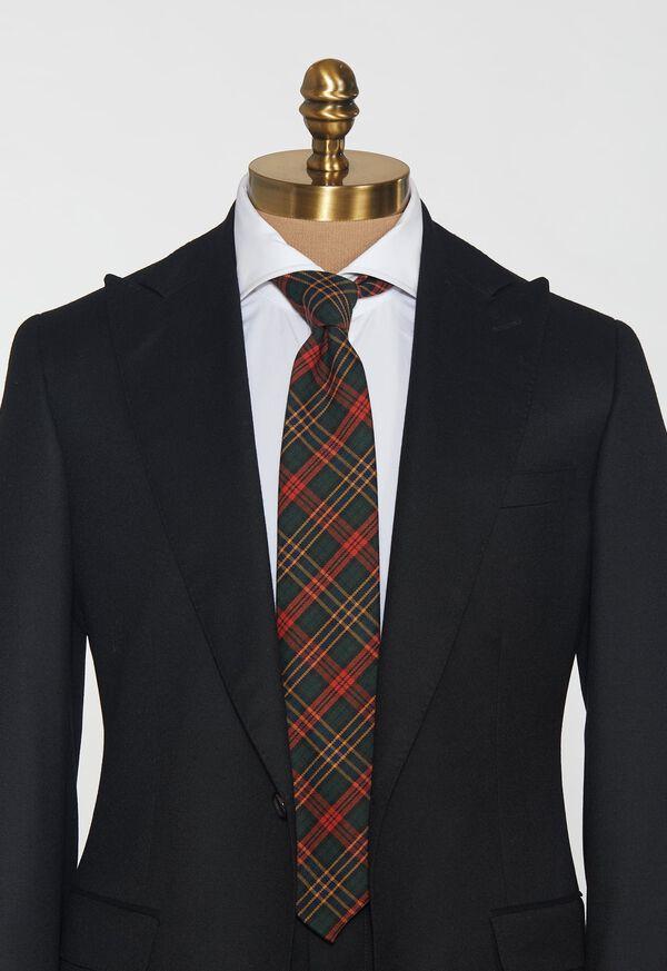 Green & Red Tartan Wool Tie, image 2
