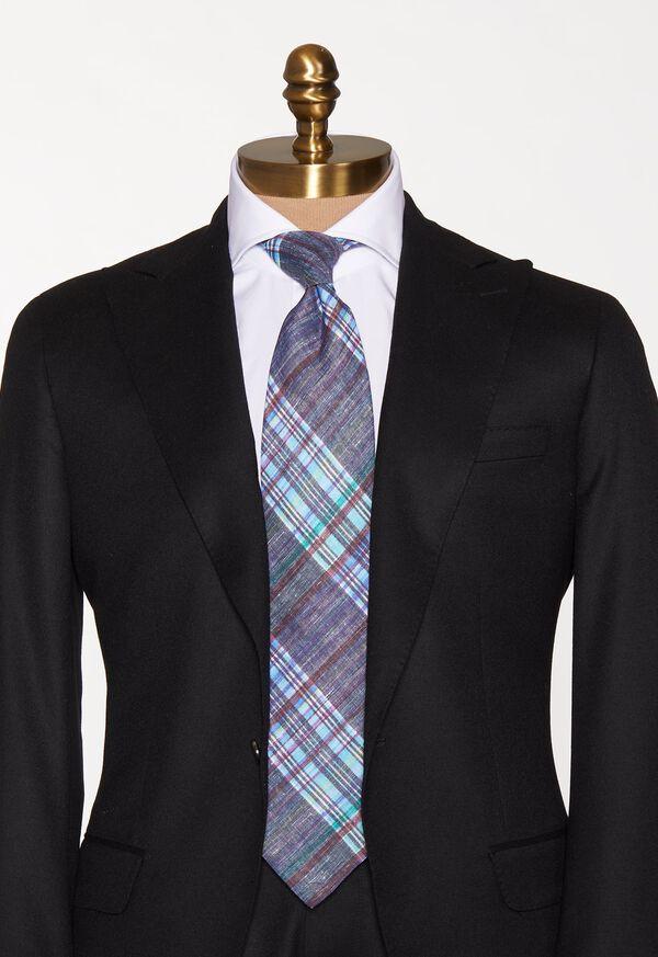 Indigo Plaid Printed Linen Tie, image 2