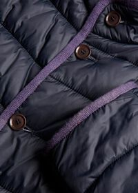 Nylon Quilted Coat With Contrast Piping, thumbnail 3