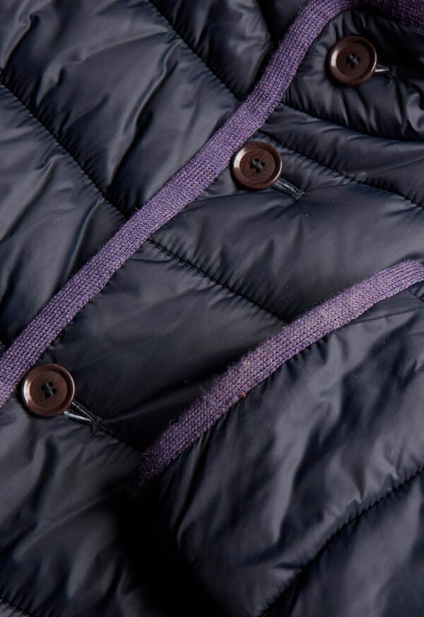 Nylon Quilted Coat With Contrast Piping, image 3