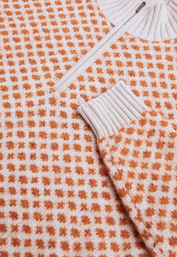 Cashmere Blend Parquet Half Zip Pullover, image 2