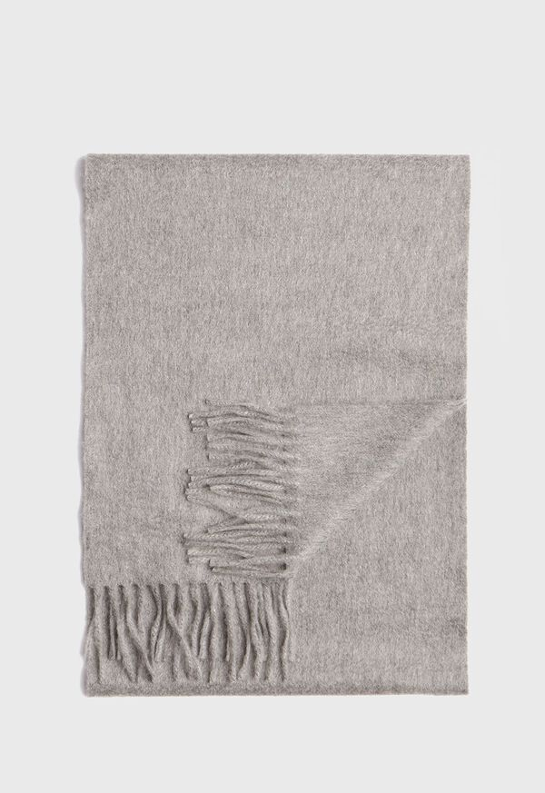 Cashmere Solid Color Scarf with Embroidered Logo, image 1