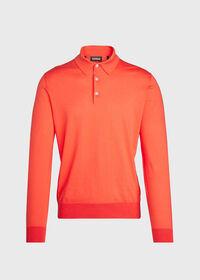 Long Sleeve Cotton Polo, thumbnail 1