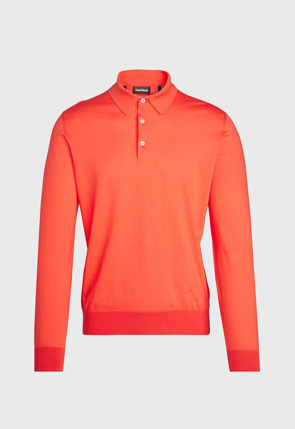 Long Sleeve Cotton Polo, image 1