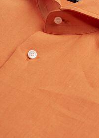 Orange solid Short Sleeve Linen shirt, thumbnail 2