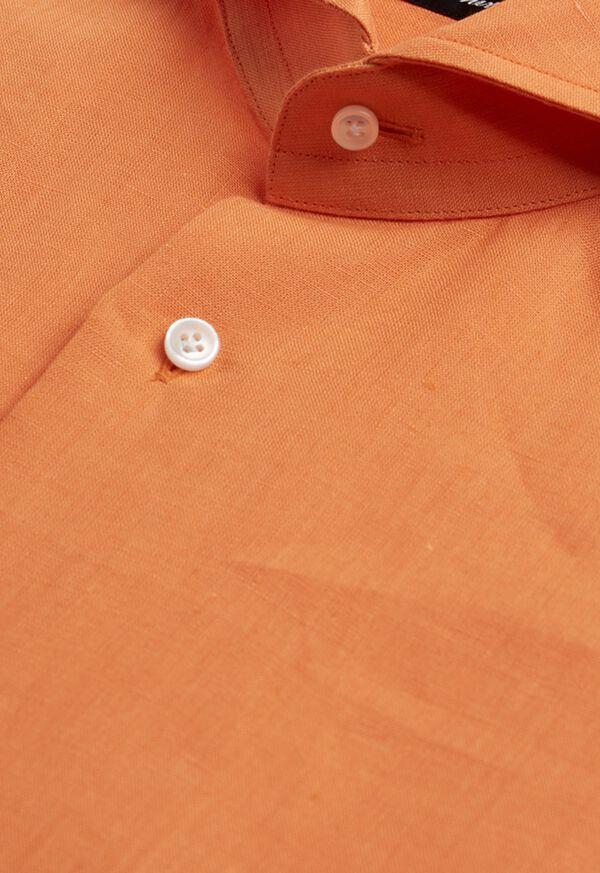 Orange solid Short Sleeve Linen shirt, image 2