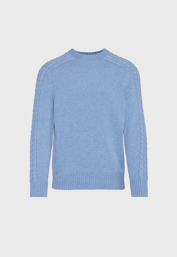 Cashmere Cable Knit Sleeve Crewneck Sweater, image 1