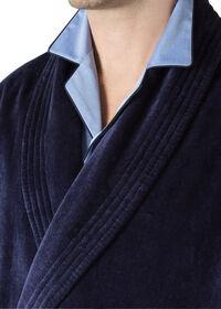 Navy Terry Cotton Velour Robe, thumbnail 3