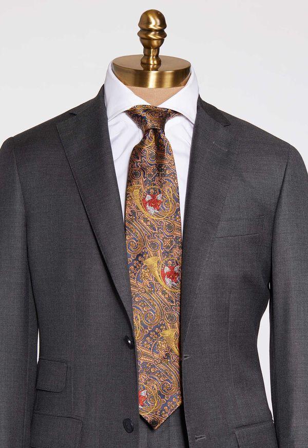 Gold Fox Horn Paisley Silk Tie, image 2