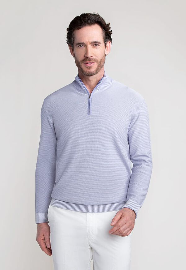 Two Color Rice Stitch 1/4 Zip Mock Neck Sweater, image 1