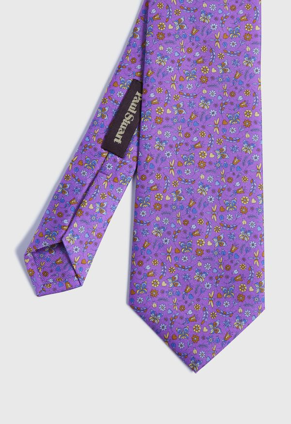 Floral Butterfly Print Tie, image 1