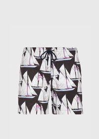 Printed Sail Boat Swim Trunks, thumbnail 1