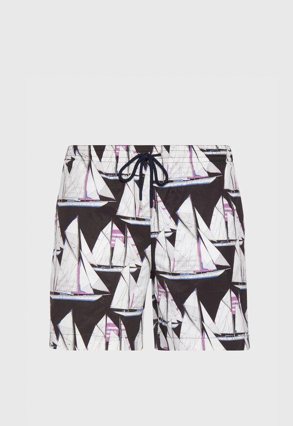 Printed Sail Boat Swim Trunks