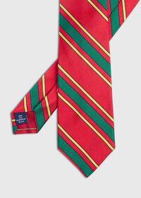 Green Deco Stripe Silk Skinny Tie, thumbnail 1