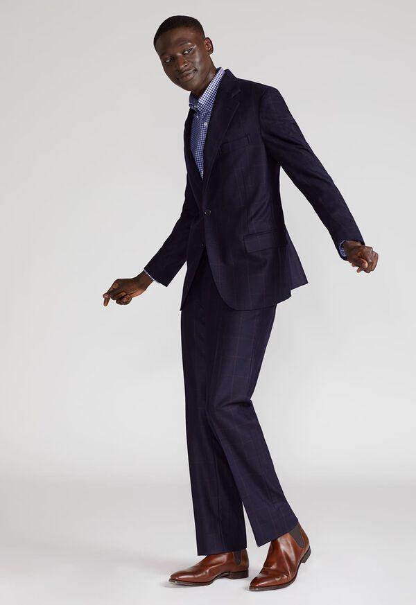 Soft Shoulder Wool Windowpane Suit, image 2