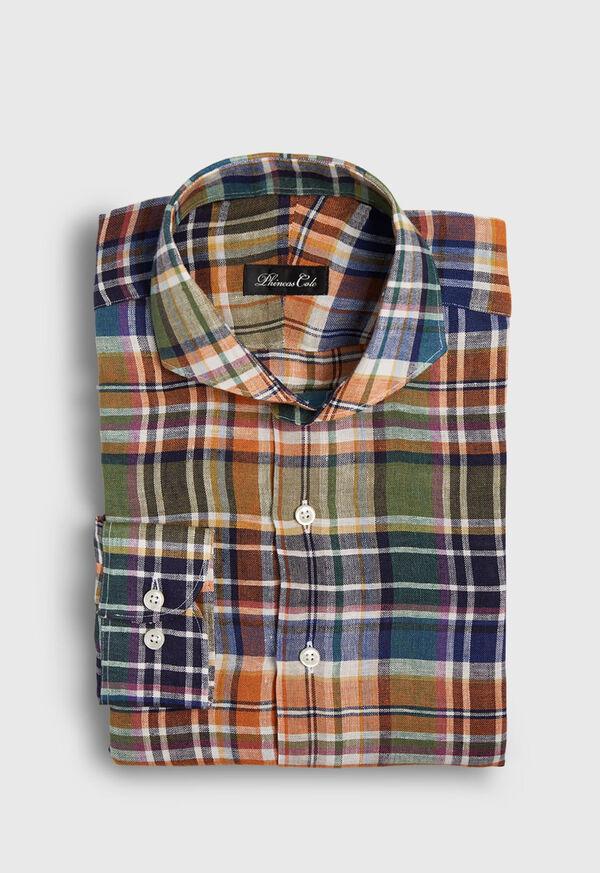 Linen Plaid Sport Shirt, image 1