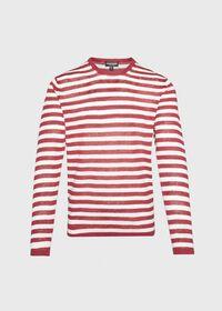Cotton and Linen Long Sleeve Striped Crewneck Top, thumbnail 1