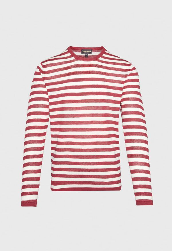 Cotton and Linen Long Sleeve Striped Crewneck Top