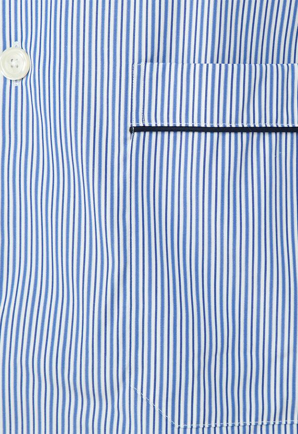 Narrow Stripe Pajamas with Navy Piping, image 2