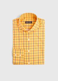 Brushed Cotton Printed Plaid Sport Shirt, thumbnail 1
