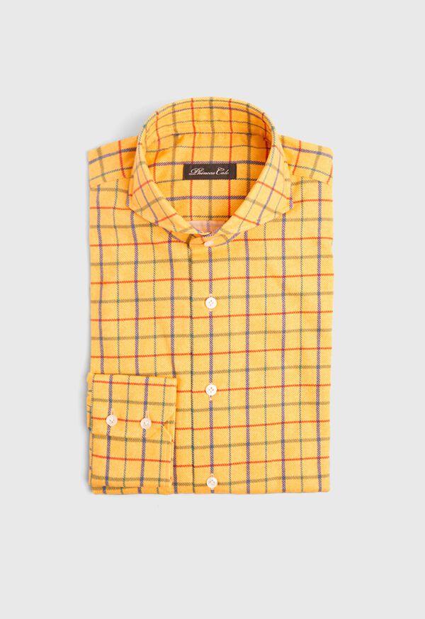 Brushed Cotton Printed Plaid Sport Shirt, image 1