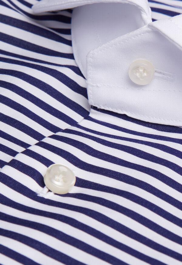 Round Collar Royal Blue Stripe Shirt, image 2