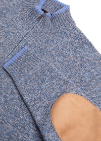 Mouline Quarter Zip Sweater with Elbow Patch, thumbnail 2