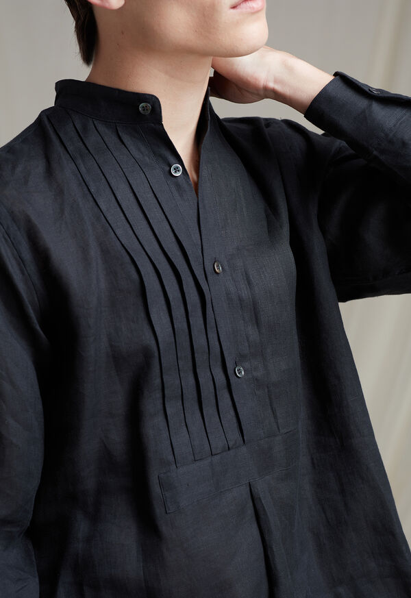 Black Linen Pleated Pull Over Lounge Set, image 4