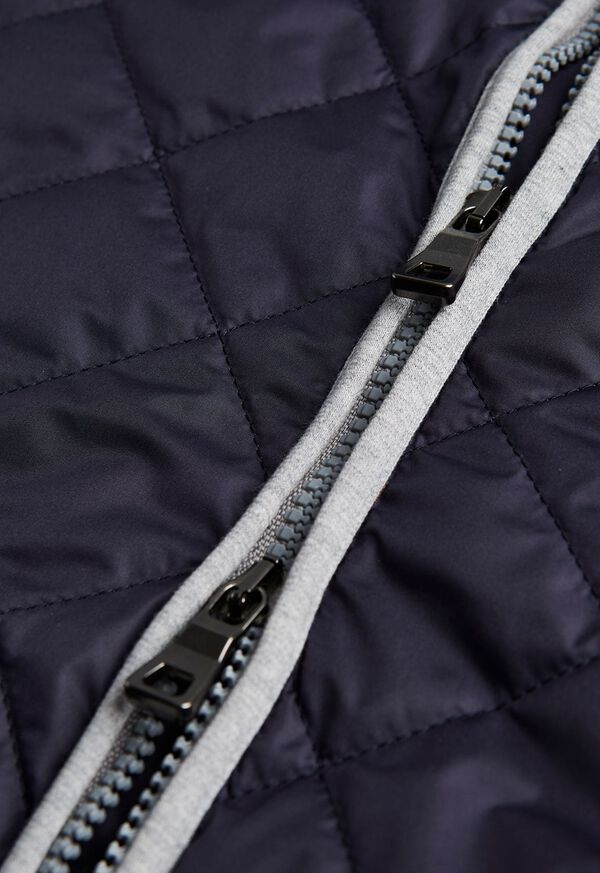 Quilted Nylon Vest with Wool Trim, image 3