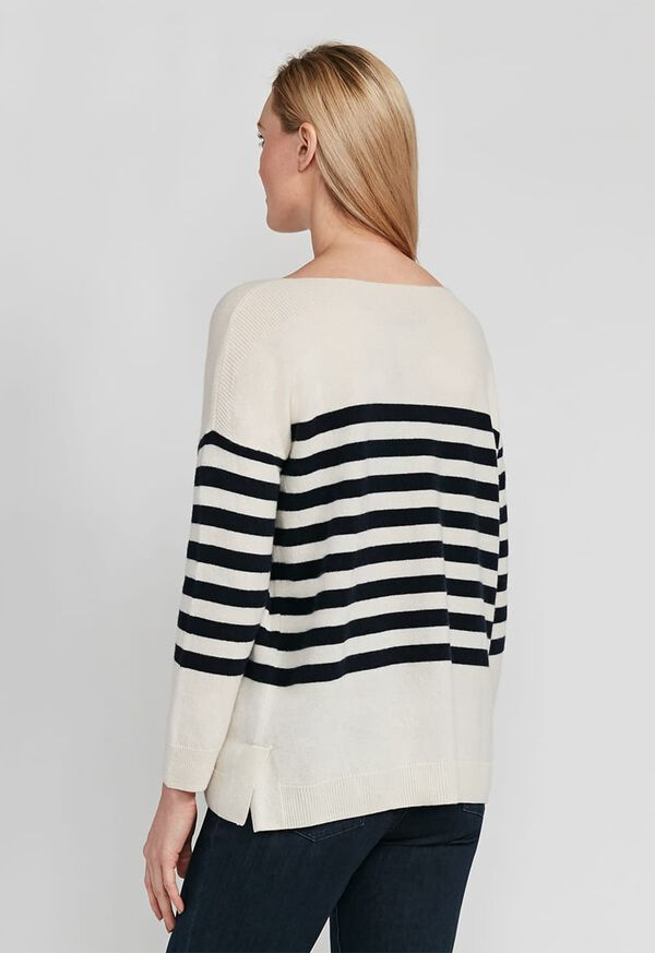 Striped Boatneck Cashmere Sweater, image 2