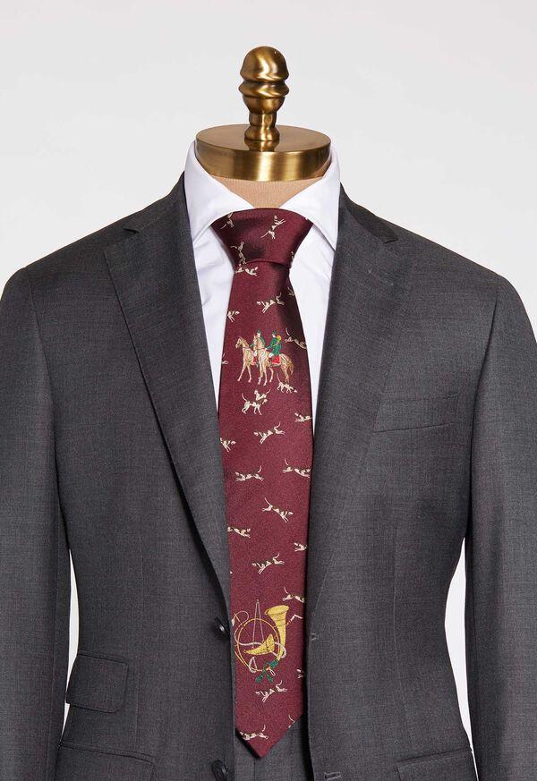 Hunt Motif Silk Tie, image 2