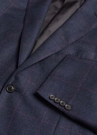 Navy Plaid Soft Shoulder Suit, thumbnail 3