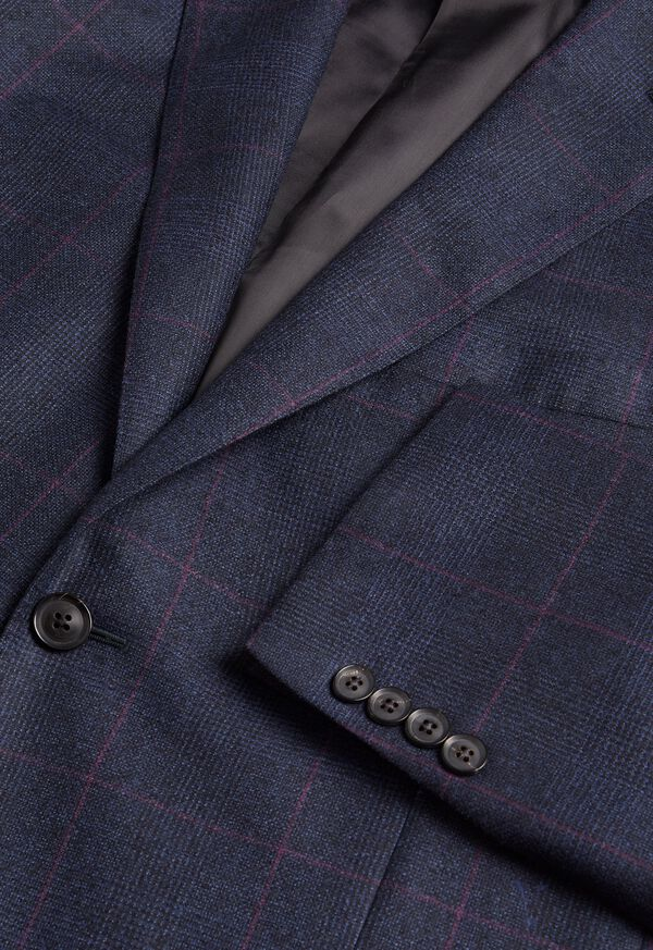 Navy Plaid Soft Shoulder Suit, image 3